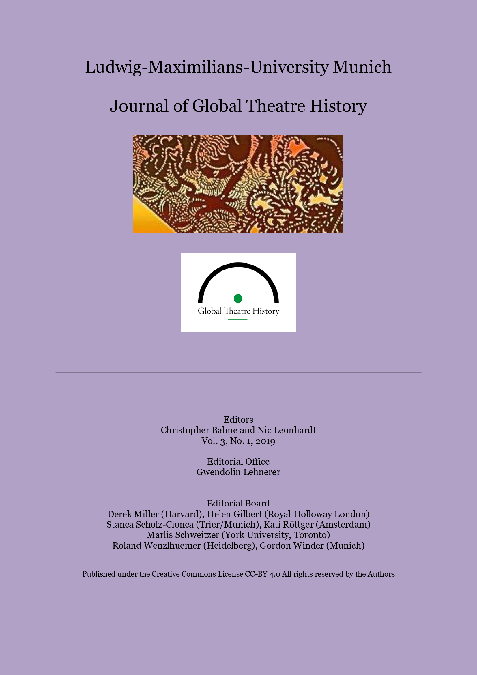View Vol. 3 No. 1 (2019): The Journal of Global Theatre History 2019