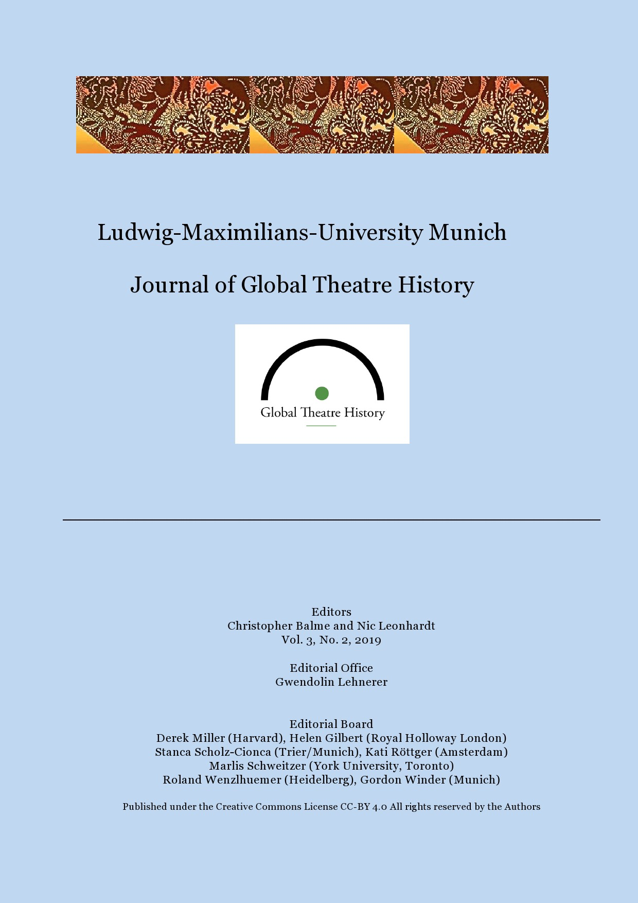 View Vol. 3 No. 2 (2019): Journal of Global Theatre History