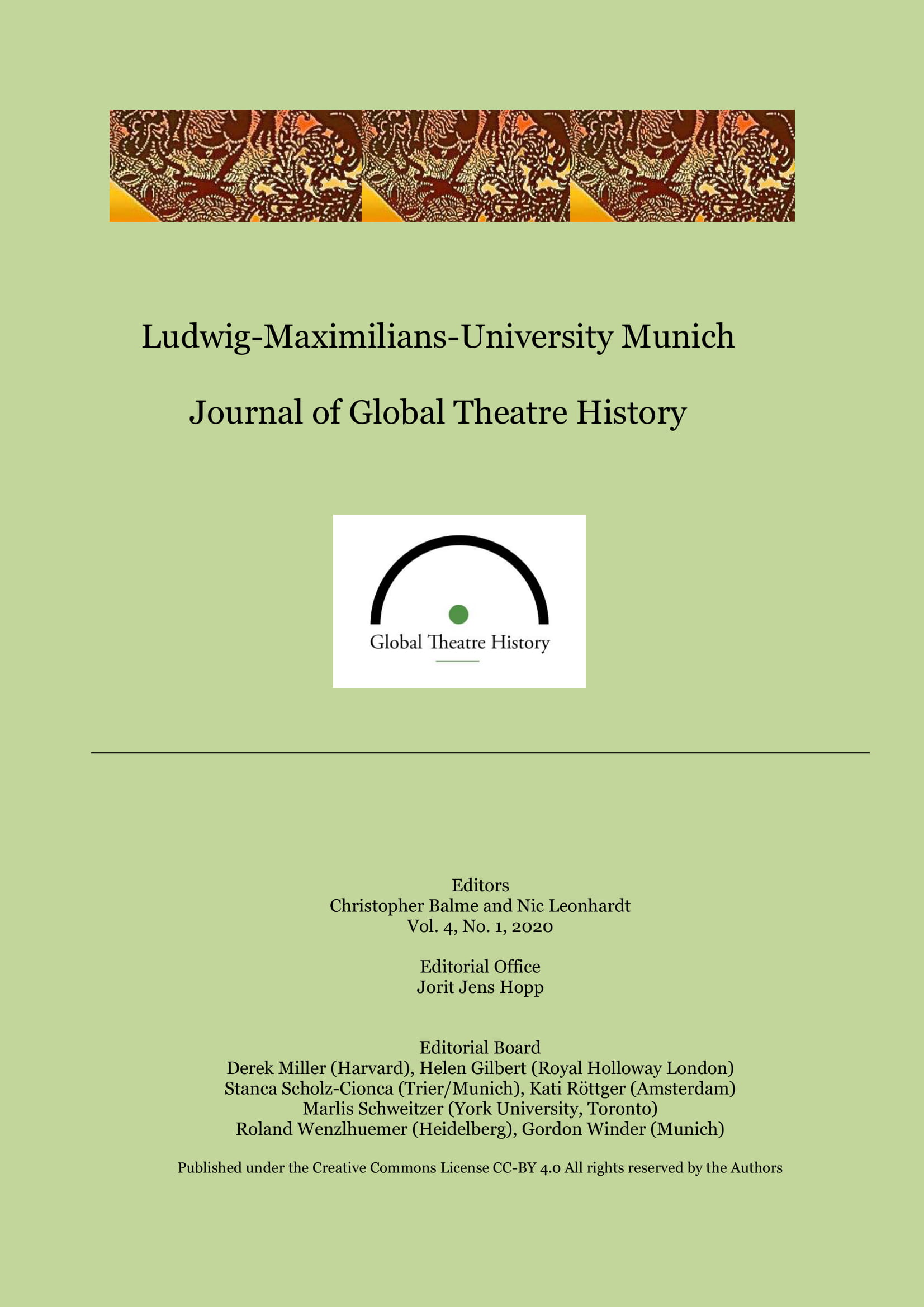 View Vol. 4 No. 1 (2020): Journal of Global Theatre History
